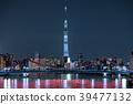 城市風景照亮隅田川上的清水橋和東京晴空塔 39477132