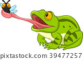 Cartoon frog catching fly 39477257