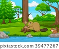 Cartoon beaver cutting a tree in the forest 39477267
