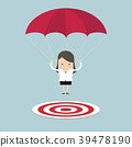 Businesswoman with parachute focused on a target. 39478190