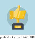 Golden thumb up trophy. 39478380