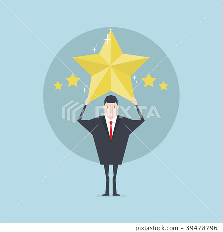 Businessman holding five gold stars for rating. 39478796