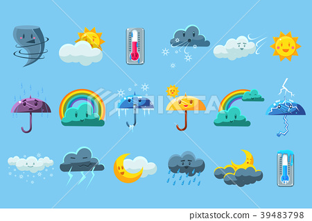 Weather forecast big set, meteorology symbols 39483798