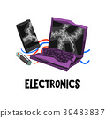 Electronic waste or e-waste used battery, broken 39483837