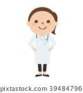 웃는 얼굴로 일하는 청진기를 가진 여성 의사의 일러스트. 직업 별. 39484796