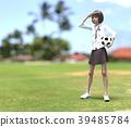女學生玩perming3DCG插圖素材 39485784