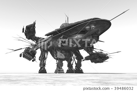 Huge spacecraft in a landscape 39486032