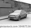 갓길 주차 된 전기 SUV가 급속 충전하는 클레이 렌더링 이미지 39487536