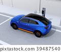 充電電動的SUV的圖像,當停放在路肩膀時 39487540