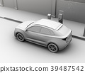 갓길 주차 된 전기 SUV가 급속 충전하는 클레이 렌더링 이미지 39487542