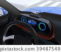 Image of electric SUV dashboard with head up display 39487549