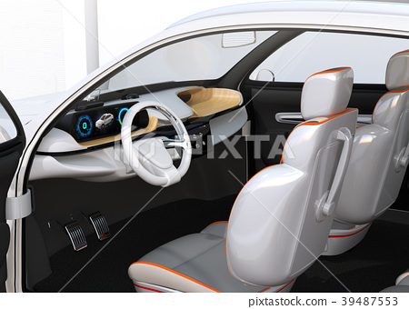 Image of electric SUV dashboard with head up display 39487553