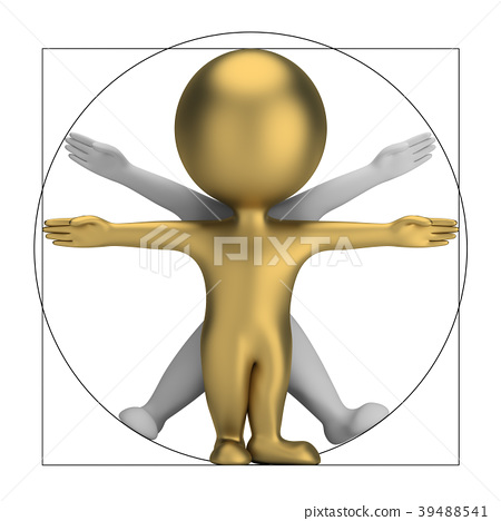 3d small people - vitruvian man 39488541