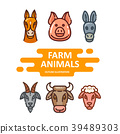 Face of farm animals in flat linear style 39489303