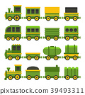 Cartoon Style Green Toy Railroad Train Set. Vector 39493311