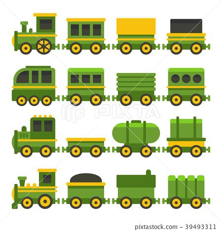 Cartoon Style Green Toy Railroad Train Set. Vector 39493311