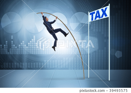 Businessman jumping over tax in tax evasion 39493575