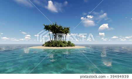 Tropical island in the ocean 3D render 39494939