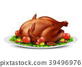 Vector roasted turkey or chicken with vegetables 39496976