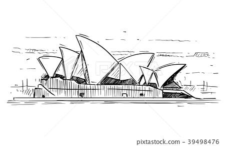 Cartoon Sketch of Sydney opera House, Australia 39498476