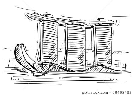 Cartoon Sketch of the Marina Bay Sand, Singapore 39498482