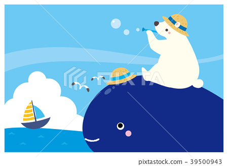 Summer greeting card illustration whale and white bear 39500943