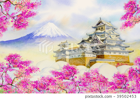 Himeji Castle and full sakura cherry blossom. 39502453