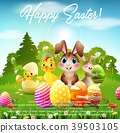 Easter Bunny with baby chicks and duckling in the  39503105