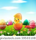 Cute Easter duckling in the broken Easter egg 39503108