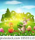 Cute Easter bunny holding an egg with little chick 39503110