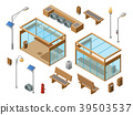 Vector isometric bus stop concept objects set 39503537