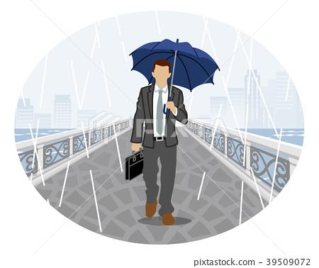 Rainy weather clip art-businessman front view