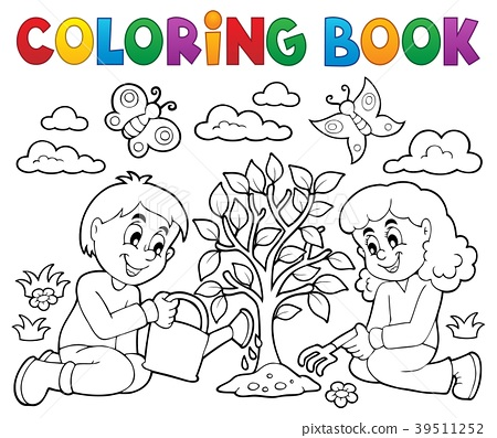 Coloring book kids planting tree 39511252