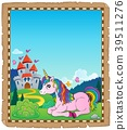 Parchment with lying unicorn theme 2 39511276