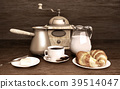 Cup, of, coffee, and, croissants  39514047
