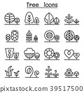 Tree & Plant icon set in thin line style 39517500