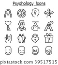 Psychology icon set in thin line style 39517515