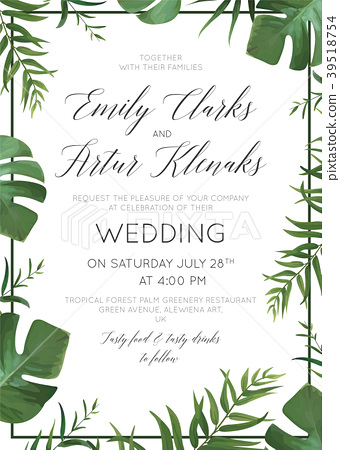 Wedding Floral Invite Card Vector Palm Leaves Stock
