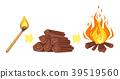 burning match, firewood and bonfire 39519560