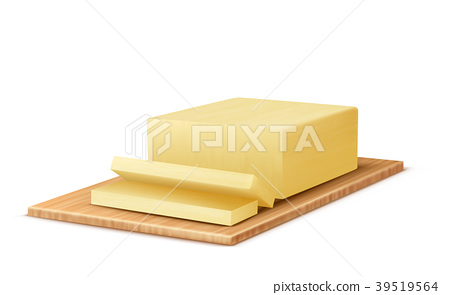 Vector 3d realistic butter on wooden tray 39519564