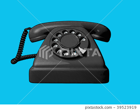 Vintage telephone drawing illustration 39523919