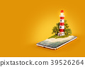 Unusual 3d illustration of a Lighthouse 39526264