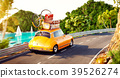 Cute little retro car with suitcases  39526274