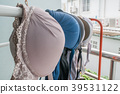 Selective focus of bra hanging on a clothesline  39531122
