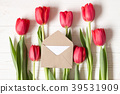 Little envelope on red tulips. Flat lay copy space 39531909