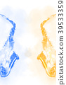 saxophone on watercolor painting background. 39533359