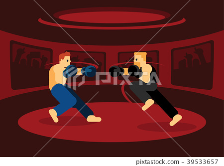 mix martial art battle in red ring 39533657