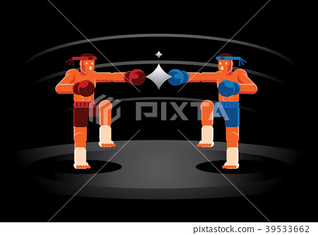 Muay Thai red and blue fighter on the ring 39533662