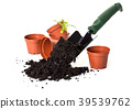 Planting a small plant on pile of soil 39539762