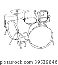 Drums doodle hand drawn sketch on white background 39539846